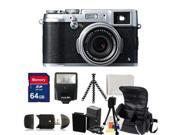 Fujifilm X100S Digital Camera Kit. Includes: 64GB Memory Card, High Speed Memory Card Reader, Extended Life Replacement Battery, Charger, Slave Flash, Gripster