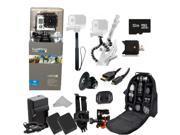 GoPro HERO3: Silver Edition Camera (CHDHN-301) + Action Pro Series All In 1 Outdoors Kit for flat surface -helmet biking, skydiving, surfing, horsebackriding, f