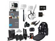 GoPro HERO3+ Silver Edition Camera (CHDHN-302) + Action Pro Series All In 1 Outdoors Kit Designed for flat surface - helmet biking, skydiving, surfing, horsebackriding, freerunning, motorcross & more