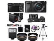 Sony Alpha A6000 Mirrorless Digital Camera with 16-50mm Lens (Black) Essential Bundle
