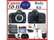 Canon EOS 5D Mark III Digital SLR Camera Body + Huge Battery, Flash & Tripod Acces
