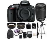 Nikon D5300 24.2 MP CMOS Digital SLR Camera with Built-in Wi-Fi and GPS Body Only (Black) + Nikon AF Zoom Nikkor 70-300mm f/4-5.6G Lens (Black) + 32GB Bundle 14 PC Accessory Kit. Includes 0.43X Wide