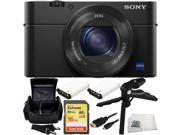Sony DSC-RX100M IV DSC-RX100 Mark IV DSC-RX100M4 Cyber-shot Digital Still Camera 16GB Bundle 7PC Accessory Kit. Includes SanDisk 16GB Extreme Memory Card + 2 Replacement NP-BX1 Batteries + MORE