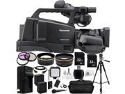 Panasonic AG-HMC80 3MOS AVCCAM HD Shoulder-Mount Camcorder 30PC Accessory Kit. Includes 2 32GB Memory Cards + High Speed Memory Card Reader + Audio-Technica ATR288W VHF TwinMic System + MORE