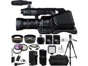 Panasonic AG-AC8PJ Shoulder Mount Video Camera with 3-Inch LCD (Black) . Includes Audio-Technica ATR288W VHF TwinMic System + 2 32GB Memory Cards + High Speed Memory Card Reader + MORE