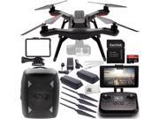 3DR Solo Quadcopter (No Gimbal) with Manufacturer Accessories + Extra 3DR Flight Battery + 2 3DR Propeller Sets + 3DR Solo Backpack + SanDisk 32GB Extreme PRO m