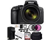 Nikon COOLPIX P900 Digital Camera (Black) + SanDisk Ultra 32GB SDHC Memory Card (SDSDUN-032G-G46) + 2 Replacement Batteries + AC/DC Rapid Home & Travel Charger + 3PC Filter Kit (UV-CPL-FLD) + MORE