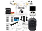 DJI Phantom 3 Professional Quadcopter w/ 4K Camera, 3-Axis Gimbal & Manufacturer Accessories + 2 Extra DJI Batteries + Water-Resistant Hardshell Backpack + Quic