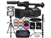 Panasonic AG UX180 4K Premium Professional Camcorder 13PC Accessory Bundle – Includes 2x 64GB SD Memory Cards 3 Piece Filter Kit UV CPL FLD MORE