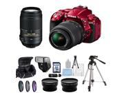 Nikon D5300 Digital SLR Camera With 18-55mm Lens & 55-300mm VR Lens Kit (Red)