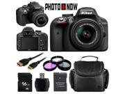 Nikon D3300 1532 Black Digital SLR Camera with 18-55mm VR Lens Basic 16GB Bundle