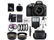 Nikon D3300 1532 Black Digital SLR Camera with 18-55mm VR Lens Advanced 16GB Bundle