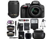 Nikon D3300 1532 Black Digital SLR Camera with 18-55mm VR Lens & Nikon 55-200mm VR Lens Essential 16GB Bundle