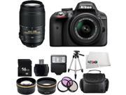 Nikon D3300 1532 Black Digital SLR Camera with 18-55mm VR Lens & Nikon 55-300mm VR Lens Basic 16GB Bundle