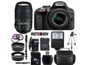 Nikon D3300 1532 Black Digital SLR Camera with 18-55mm VR Lens & Nikon 55-300mm VR Lens Essential 16GB Bundle