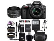Nikon D3300 1532 Black Digital SLR Camera with 18-55mm VR Lens & Nikon 50mm f/1.8D Lens Essential 16GB Bundle