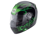 Scorpion EXO-500 Ardent Black/Green Full-Face Motorcycle Helmet Size XSmall