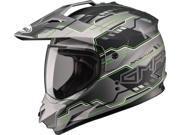 G-Max GM11D Dual Sport Adventure Motorcycle Helmet Flat Black/Hi-Viz Green Large 9SIA1453RD5306