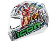 Icon Airmada Lucky Lid 2 Motorcycle Helmet White Medium 9SIA1453FB4036