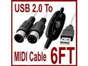 6FT USB to MIDI Cable PC Interface Adapter Keyboard Music Cord