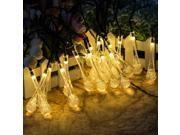 Solar Powered Ice Cube String Lights, AGPtek® Globe Fairy Lights for Path Landscape Garden Fence Decoration Party Wedding 21Ft 30 LED Warm White