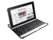 Aluminum Bluetooth Keyboard Case Stand for Apple iPad 2 with Silver Exterior and Black Keys