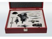 9-Piece Wine Corkscrew Bottle Opener Set in Mahogany Box