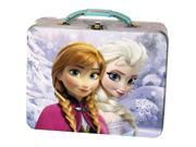 Disney Frozen Anna and Elsa Tin Lunch Box Carry Case Purple