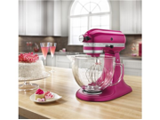 KitchenAid KSM155GBRI Artisan Design Series 5-Quart Tilt-Head Stand Mixer with Glass Bowl Raspberry Ice