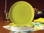 Rachael Ray Set of 4 Round Square Dinner Plates Green Apple