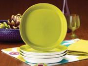 Rachael Ray Set of 4 Round Square Salad Plates Green Apple