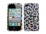 Colorful Spotted Leopard 2D White Cover Protector Case for iPhone 4 4S