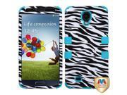 Black/Blue Zebra Skin TUFF Hybrid Protector Cover Case for Samsung Galaxy S 4