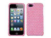 Dots (Pink/White) Bling Diamond Case +Screen Protector For iPhone 5 5S