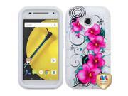 Motorola Moto E LTE 2nd Gen 2015 Hard Cover and Silicone Protective Case - Hybrid Morning Petunias/White Tuff