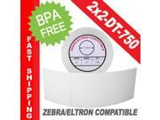 "Zebra/Eltron-Compatible 2 x 2 Labels (2"" x 2"") -- BPA Free! (1 Roll&#59; 750 Labels)"