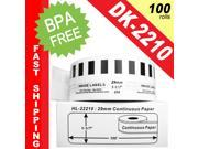 "BROTHER-Compatible DK-2210 Continuous Paper Labels (1-1/7"" x 100'&#59; 29mm*30.48m) -- BPA Free! (100 Rolls&#59; Continuous Paper)"
