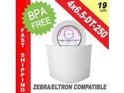 "Zebra/Eltron-Compatible 4 x 6.5 Labels (4"" x 6-1/2"") -- BPA Free! (19 Rolls&#59; 250 Labels per Roll)"
