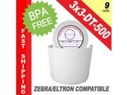 "Zebra/Eltron-Compatible 3 x 3 Labels (3"" x 3"") -- BPA Free! (9 Rolls&#59; 500 Labels per Roll)"