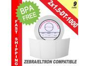 "Zebra/Eltron-Compatible 2 x 1.5 Labels (2"" x 1-1/2"") -- BPA Free! (9 Rolls&#59; 1,000 Labels)"