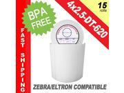 "Zebra/Eltron-Compatible 4 x 2.5 Labels (4"" x 2-1/2"") -- BPA Free! (15 Rolls&#59; 620 Labels per Roll)"