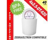 "Zebra/Eltron-Compatible 4 x 2.5 Labels (4"" x 2-1/2"") -- BPA Free! (40 Rolls&#59; 620 Labels per Roll)"