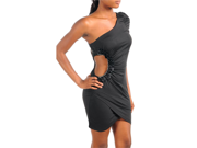 Black Off One Shoulder Cocktail Dress With Side Cut-out 9SIA1NM5HV1062