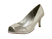 "Silver Peep Toe Pump 3"" Heel Women's Dress Shoe"