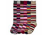 Bright & Colorful 6 Pack Multi Stripe Assorted Knee-High Socks