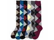 Multicolor Argyle Print 6 Pack Assorted Knee-High Socks