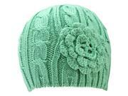 Sage Green Cable Thick Beanie Hat With Rosette