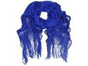 Blue Ruffled Knit Fringed Scarf