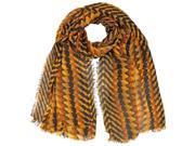 Brown Vibrant Tricolor Tribal Print Scarf