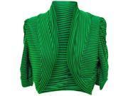 Green & Black Pinstripe Cropped Bolero Shrug Jacket